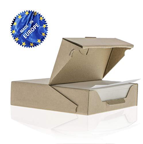 ZEZAZU Pergament Backpapier Quadratische Blätter, Vorgeschnitten (14x14 cm - 500 Stück) - zum Backen, Hamburger, Silikonbeschichtet, Praktische, Wiederverwendbare Spenderbox