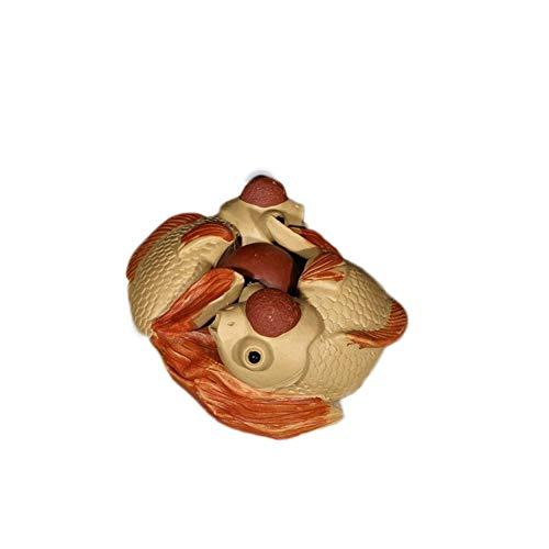 JIANGJINLAN paarse toon sculptuur thee huisdier ornamenten handgemaakte geluk Altijd weer goudvis ornamenten boetique theeplank gadgets
