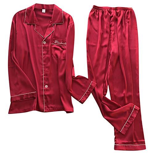 HIUGHJ Ropa de Dormir para Hombres Otoño Invierno Pijamas de Seda Lencería Ropa de Dormir de satén para Hombres Tallas Grandes Camisón de Manga Larga Hombre sólido, Vino, XXXL