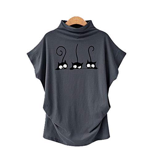 DREAMING-Übergroßes Rollkragenpullover Für Frauen Mit Rollkragen Und Kurzarm-T-Shirt + Print Dunkelgrau M