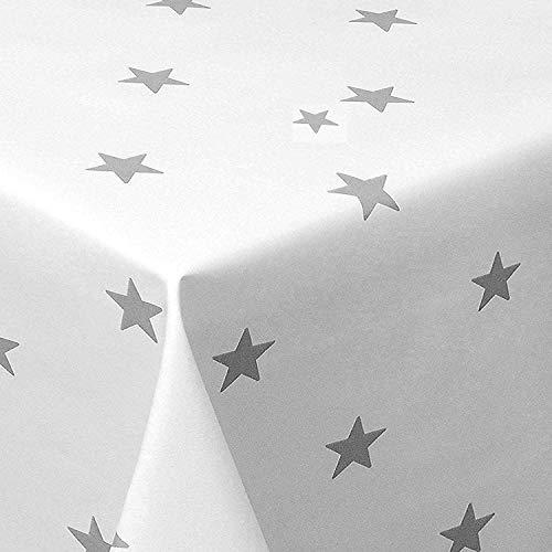PVC Tischdecke Star weiß Sterne Silber Wachstuch · Eckig · Länge & Breite wählbar· abwaschbare Tischdecke Weihnachten, Größe:100 x 180 cm