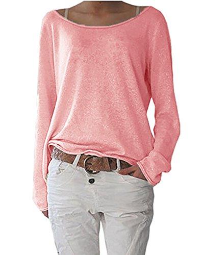 ZANZEA Damen Langarm Lose Bluse Hemd Shirt Oversize Sweatshirt Oberteil Tops Rot EU 36-38/Etikettgröße S