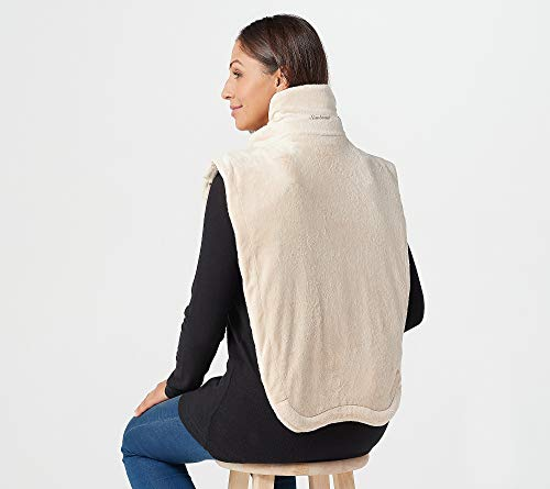 Sunbeam Renue Extended XXL Heated Neck and Shoulder Therapeutic Upper Back Massager Heating Pad Wrap with Adjustable Snap Closure, Taupe