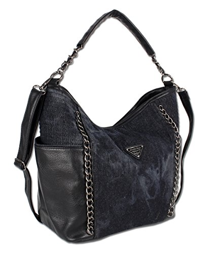 Modische Schultertasche Umhängetasche Handtasche Jeans Denim 3 Farben 4533 (Schwarz)