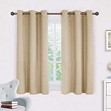 NICETOWN Room Darkening Draperies Window Curtain Panels, Thermal Insulated Grommet Room Darkening Curtains for Bedroom (Cream Beige, 2 Panels, W42 x L54 -Inch)