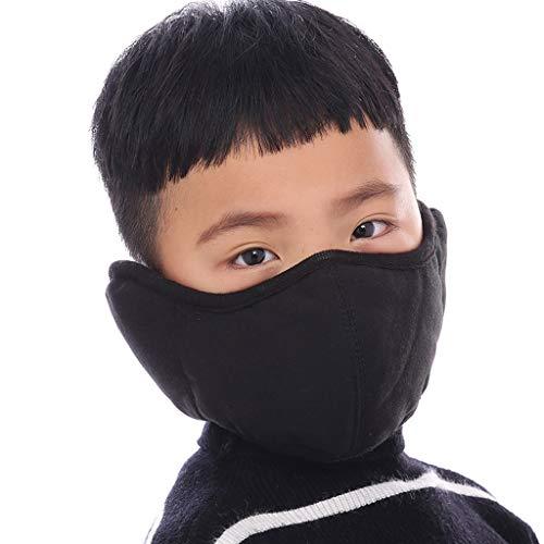 JUSHINI 1 Stück Kaltes Winter Winddicht Warme Kinder Einfarbig Mundschutz Waschbar Mund und Nasenschutz für Jungen und Mädchen Wiederverwendbare Staubschutz Mundbedeckung Bandana Halstuch