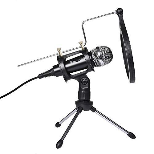 Knowledgi - Kit de micrófono de condensador USB profesional para PC, con soporte para trípode, filtro perfecto, para radiodifusión, grabación, Youtube