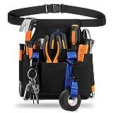 SITHON Bolsa de Electricista con Cinturon Ajustable, Porta Organizador de Herramientas para Técnico de Mantenimiento, Constructor,Negro
