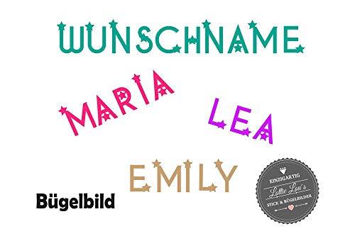 Bügelbild Wunsch Name Text Sterne in Flex, Glitzer, Flock, Effekt in Wunschgröße