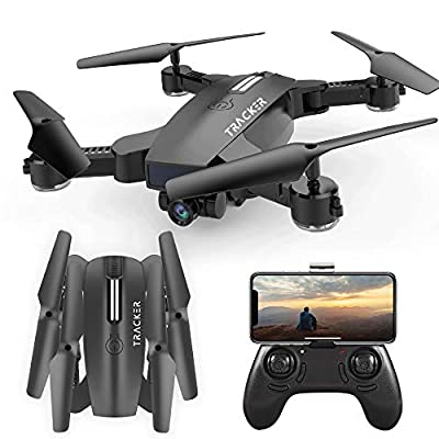 FPV RC Drone with Camera, One Key Take off/ Land Quadcopter, Drone with Adjustable Wide-Angle 720P HD WIFI Camera, 6-Axis Gyro Quadcopter, Two Lenses Switch, Follow Me, Altitude Hold, High/low Speed