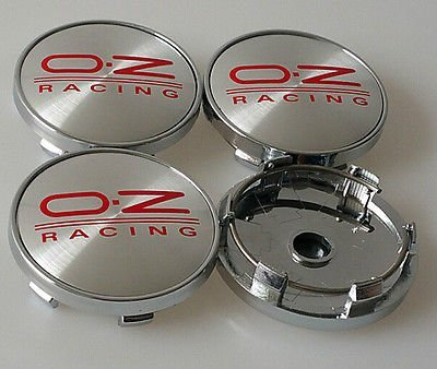 4 x oz Felgendeckel Gap 60 mm Legierung Nabendeckel oz Racing Sport Center Caps Silber/Rot