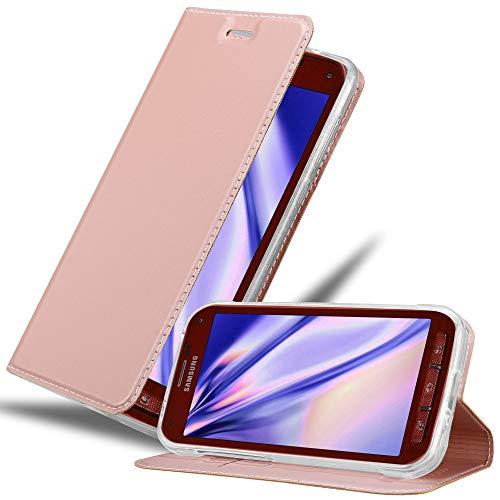 Cadorabo Hülle für Samsung Galaxy S5 Active - Hülle in ROSÉ Gold – Handyhülle mit Standfunktion und Kartenfach im Metallic Look - Case Cover Schutzhülle Etui Tasche Book Klapp Style
