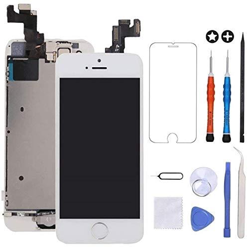 """GULEEK Pantalla para iPhone 5s/se 4.0"""" LCD Táctil Pantalla con Cámara Frontal,Sensor de proximidad,Altavoz, ensamblaje de Marco digitalizador y Kit de reparación (Blanco)"""