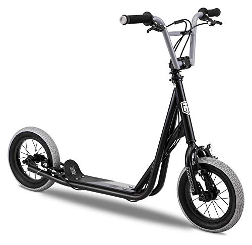 Mongoose Trace Youth/Adult Kick Scooter Folding and Non-Folding Design, Regular, Lighted, and Air Filled Wheels, Multiple Colors, Black (R6331AZA)