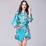 CWENROU Pijama De Satén para Mujer,Moda Retro Damas Primavera Y Verano Rayon Bata Satinado Vestido Novia Bata Nupcial Más Tamaño Sexy Floral Bata Corta Pijama Kimono Azul Simple, XL