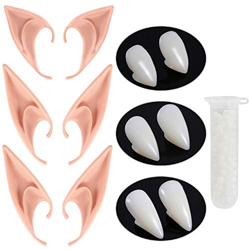 HLenyoy Vampire Teeth Fangs Elf Ears for Cosplay Costume Accessory