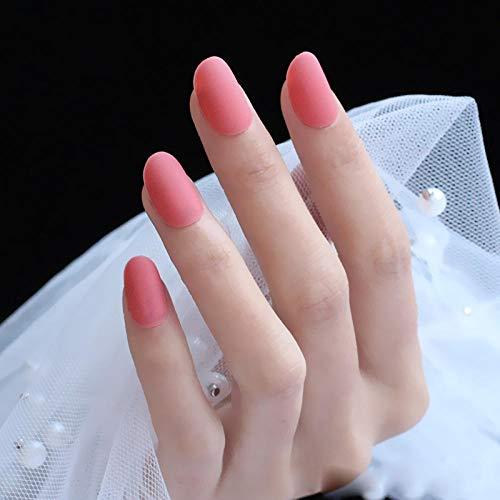 CSCH Faux ongles 24 nouvelle mode mignon forme ovale excellent design tactile mat faux ongles rose clair orange