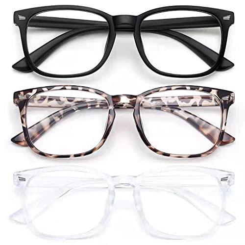 of ewin sunglasses brands 3 Pack Blue Light Blocking Glasses-Blue Light Glasses for Women Computer Glasses Anti eyestrain Eyeglasses Readers for Men (1-Black+clear+leopard)