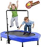 Oppikle Fitness-Trampolin Mini Trampoline Pliable avec la Rampe réglable Fitness Training Trampoline, Poids de l'utilisateur jusqu'à 135 kg (Double-Style-Bleu)