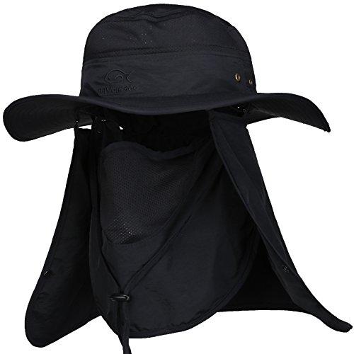 DDYOUTDOOR Summer Outdoor Sun Protection Fishing Cap Neck Face Flap Hat Black