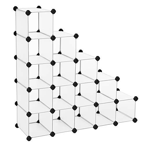 SONGMICS Estantería Modular de plástico PP Zapatero Organizador 15 Cubos Blanco semitraslúcido 113 x 36 x 113 cm LPC44S