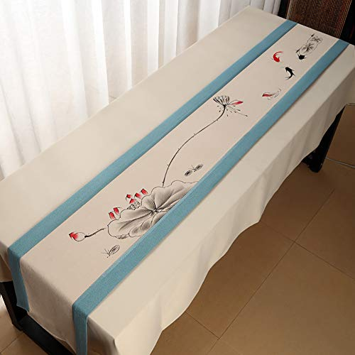 Table Runners Traditional Table Runner, Rectangle Rustic Bed Flag, Japanese Tablecover for Gathering Birthdays Sideboard Kitchen Dining Desk(Color:Light Blue,Size:30×300cm)