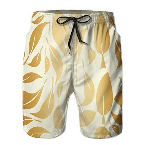 Teen Boys Funny Swim Trunks Quick Dry Beachwear Shorts Gold foil Leaves Seamless Pattern
