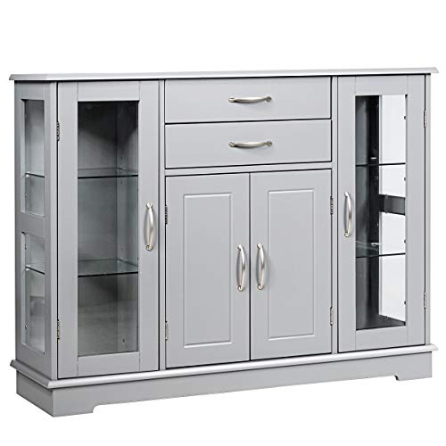 Giantex Sideboard Buffet Server Storage Cabinet W/ 2 Drawers, 3 Cabinets and Glass Doors for Kitchen Dining Room Furniture Cupboard Console Table (Gray)