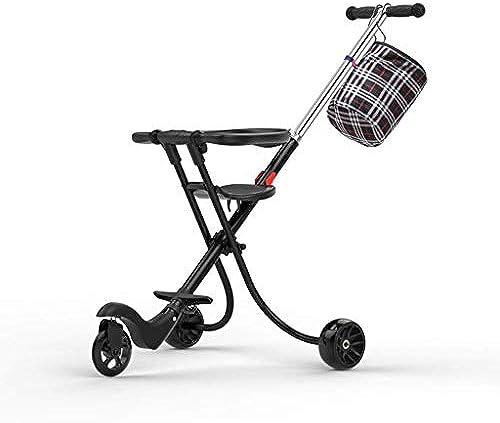 MINISU S ling Baby Kinder Dreirad Trolley Aluminiumlegierung einfach leicht Falten Schwarz(Farbe  B) Reise (Farbe   B)