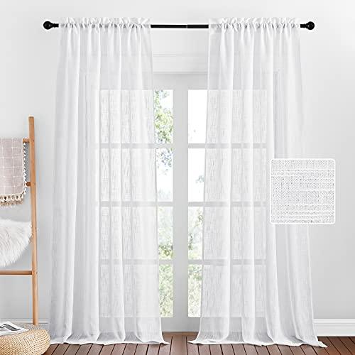 PONY DANCE Cortinas Translucidas Dormitorio - Cortina Bordado Decorativo para Salón Habitación Juvenil, 2 Paneles, A 132 x L 240 cm, Blanco