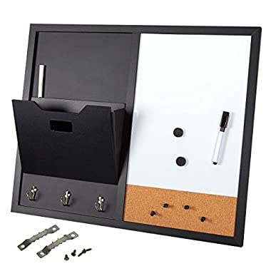 Message Center Bulletin Board - Magnetic Message Board Wall Organizer with 3 Hooks, Whiteboard, Blackboard, Mail Sorter, and Cork Board with 2 Round Magnets - 22 x 18 x 0.625 inches