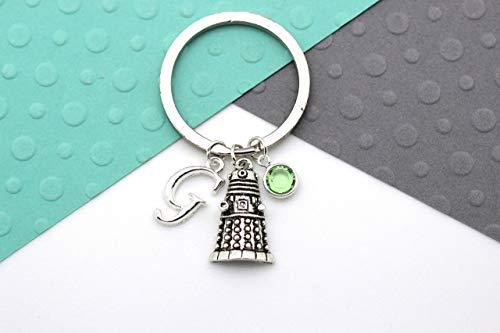 Dalek Personalised Keychain, Doctor Who Custom Keyring, Dr Who, Tardis, Bad Wolf, Personalised Swarovski Birthstone & Initial Gift