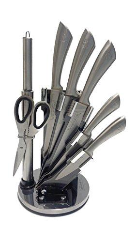 Royalty Line RL-KSS600 - Set di 8 coltelli, con Supporto, in Acciaio Inossidabile