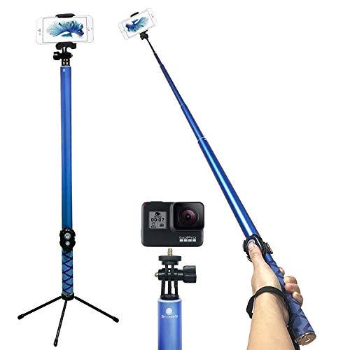 Palo de selfie largo con Bluetooth - Barra extensible súper ligera de 20 pulgadas a 118 integrada, con soporte para disparador remoto inalámbric