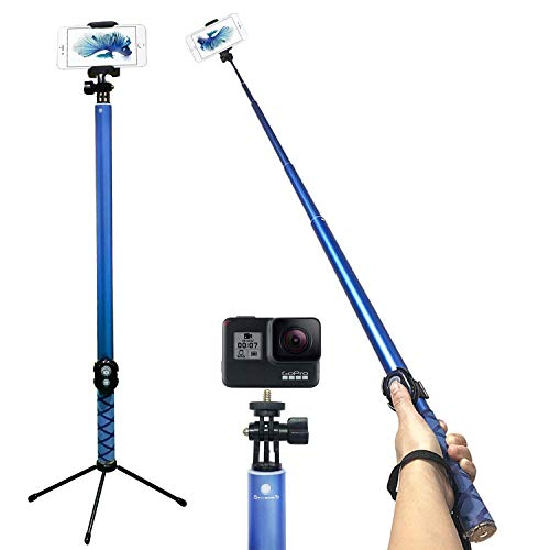 Bluetooth Long Selfie Stick- Super Length Lightweight Extendable Pole from 20'' to 118 Built-in Wireless Remote Shutter Grip Holder Mount Compatible iPhone Samsung Android Cell Phone(Blue)