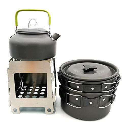 WYYHAA Multi-PCS Kit de Casseroles Camping Camping Set De Cuisine Kit Mess Batteries De Cuisine Antiadhésives Pots Légers Casseroles avec Sac-Filet Set pour Pique-Nique Backpacking,A
