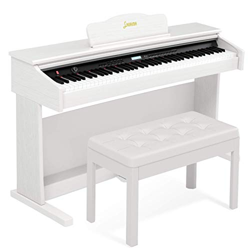 LAGRIMA 88 Key Digital Piano with Bench, Electric Piano for Beginner/Adults with Padded 2 Person Piano Bench+Music Stand+Power Adapter+3-Pedal Board+Instruction Book+Headphone Jack, White