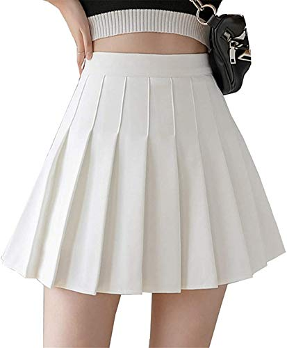 Girls Women High Waisted Plain Pleated Skirt Skater Tennis School Uniforms A-line Mini Skirt Lining Shorts (White, Small)