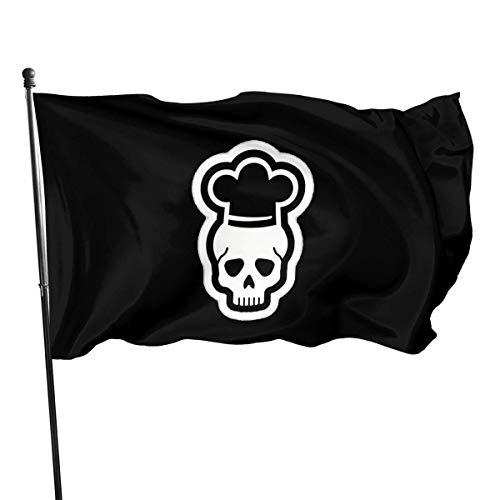 GYUB Cook Chef Skull 3x5 pies Bandera Estadounidense de poliéster de EE. UU. - Color Vivo y Resistente a la decoloración UV - Encabezado de Lona