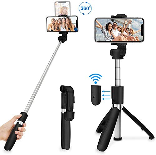 MOBILIFE 3-in-1 Multifunctional Extendable Bluetooth Selfie Stick Tripod with Detachable Wireless Remote Compatible with iPhone/Samsung/Oppo/Vivo/MI and All Smartphones (Black)