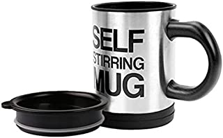 Self Stirring Coffee Mug,Stainless Steel Coffee Mug with lid Self Mixing & Spinning Home Office Travel Mixer Cup 12-16 OZ (Black)