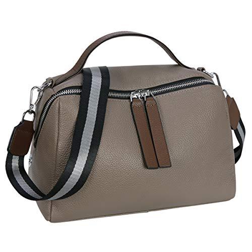 Iswee Fashion Women Tote Handbag Satchel Shoulder Bag Cross Body Shopping Bags Ladies Purse Genuine Leather (Gray)