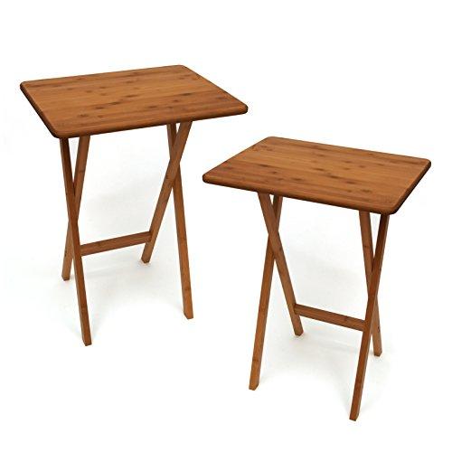 "Lipper International Bamboo Wood Rectangular Snack Tables, 18.75"" x 15"" x 24.75"", Set of 2 Tables"
