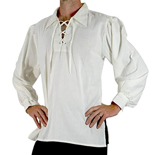 Camisa La Solapa Renacentista Medieval para Hombres Disfraz De Pirata De La Edad Media Blanco 2XL