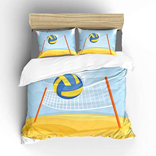 Aluy's boutique Volleyball Net and Ball Ultra Soft Bedding Sets Duvet Cover Set, Twin Size 2 Pieces with 1 Duvet Cover and 1 Pillowcase, Best Gift for Kids, Boys, Girls