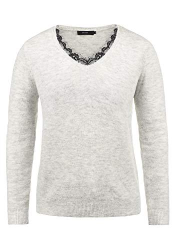 VERO MODA Lacey Damen Strickpullover Feinstrick Pullover Mit V-Ausschnit und Spitze, Größe:M, Farbe:Light Grey Melange