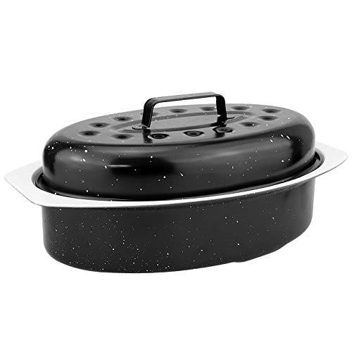 WELLGRO® Bräter oval 2,3 Liter - mit Deckel - 33 x 20,5 x 14 cm (LxBxH) - Keramikbeschichtung - schwarz, weiß marmoriert - Schmorpfanne - Bratpfanne