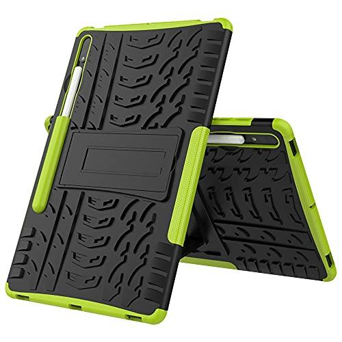 GUODONG Tablet PC Case Cubierta de la Tableta para Samsung Galaxy Tab S7 Plus Neumático Textura TPU a Prueba de Golpes TPU + PC Funda Protectora con Soporte de Mango Plegable Tablet contraportada