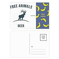 漫画の鹿の動物のブルーのシルエット バナナのポストカードセットサンクスカード郵送側20個