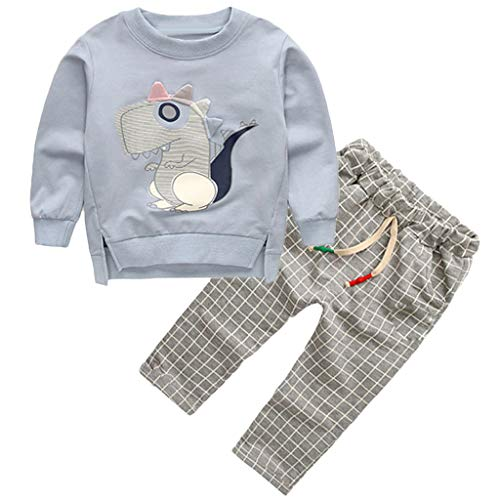 Toddler Kids Baby Boys Sweatshirt Cartoon Tops Plaid Pants Trousers Outfits Set